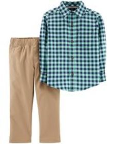 Kid Boy2-Piece Gingham Flannel & Canvas Pant Set