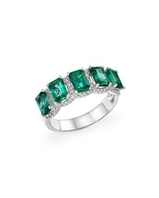 Bloomingdale's - Emerald and Diamond Band Ring in
