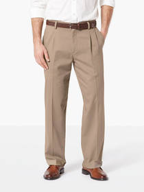 Easy Stretch Khaki Pleated Pants, Relaxed Fit