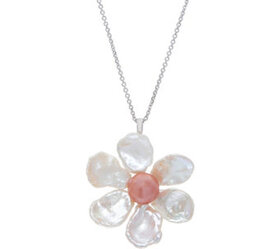 "Honora Pearl Flower Pin / Pendant with 18"" Necklac"