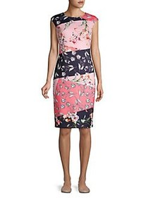 Vince Camuto Patterned Cap-Sleeve Shift Dress PINK