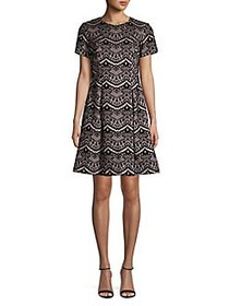 Vince Camuto Printed Short-Sleeve Fit-&-Flare Dres