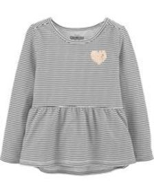 Baby GirlStriped Peplum Top