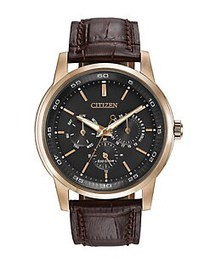 Citizen Mens Eco Drive Rose Goldtone and Leather W