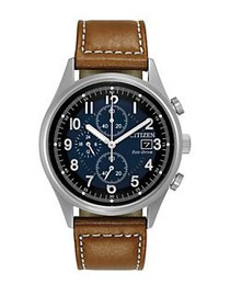 Citizen Eco-Drive Leather Strap Analog Chronograph
