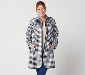 Isaac Mizrahi Live! Gingham Trench Coat with Pipin