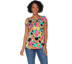 """As Is"" Susan Graver Printed Liquid Knit Top with"