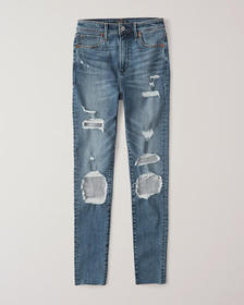 Ripped High Rise Super Skinny Jeans, Extreme Rippe