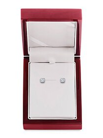 Lord & Taylor 14K White Gold & Diamond Basket Stud