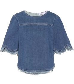 See By Chloé Scalloped denim top