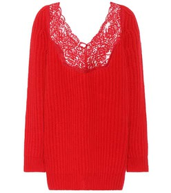 Balenciaga Lace-trimmed wool sweater