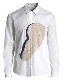 Solid Homme Ear Graphic Button-Down Shirt WHITE