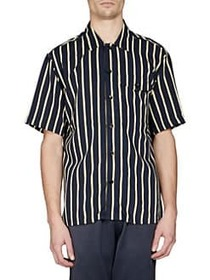 AMI Striped Button-Front Shirt NAVY YELLOW