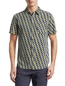 Madison Supply Short-Sleeve Checkered Cotton Butto