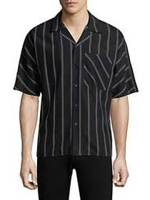 Solid Homme Striped Button-Down Shirt BLACK
