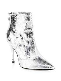 Paul Andrew Citra Metallic Leather Booties SILVER