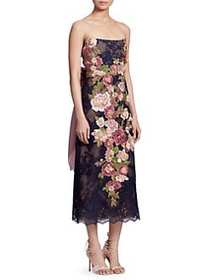 Marchesa Embroidered Lace Strapless Cocktail Dress