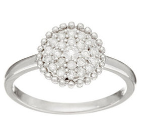 """""""As Is"""" Pave' White Diamond Ring, Sterling Silver"""