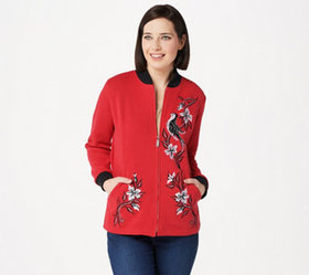 Bob Mackie Embroidered Songbird Zip Up Jacket - A3