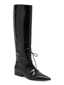Off-White High Lace-Up Leather Boots BLACK