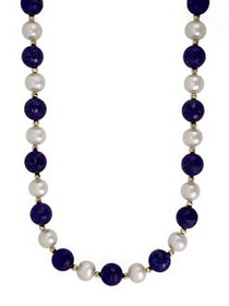Effy 14K Yellow Gold Pearl and Lapis Necklace LAPI