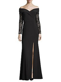 Xscape Lace-Sleeve Sweetheart Slit Gown BLACK