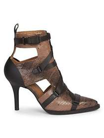 Chloé Tracy Buckle Watersnake Print Leather Ankle