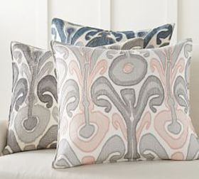 Pottery Barn Kenmare Ikat Embroidered Pillow Cover
