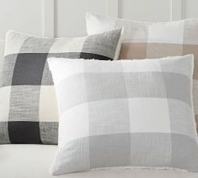 Pottery Barn Bryce Check Sherpa Back Pillow Cover