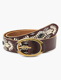 Lucky Brand Cream Embroidery Belt