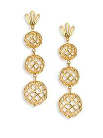 Lele Sadoughi Tiered Pineapple Clip-On Drop Earrin