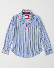 Long-Sleeve Sleep Shirt, BLUE STRIPE