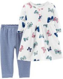 Osh Kosh Baby Girl2-Piece Butterfly Dress & Stripe