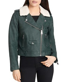 Levi's - Sherpa-Trimmed Faux-Leather Moto Jacket