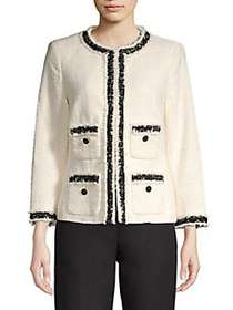Anne Klein Contrast Tweed Fringe Jacket WHITE