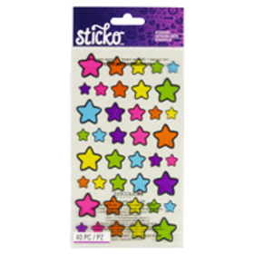 Sticko Stickers Technicolor Stars, 40 pieces.