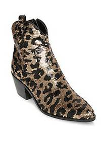 Betsey Johnson Sequined Leopard Printed Booties LE