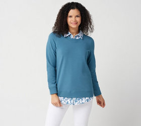 Denim & Co. French Terry Long-Sleeve Tunic with He