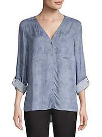 JONES NEW YORK V-Neck Button-Down Shirt DUSTY BLUE