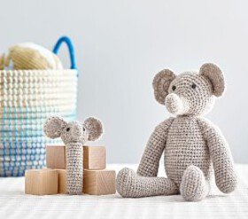 Pottery Barn Elephant Knit Plush & Rattle