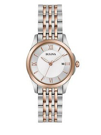 Bulova Rosegold & Stainless Steel Watch TWO TONE