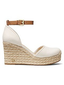 MICHAEL Michael Kors Logo Leather Wedge Sandals LI