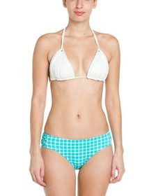 Coco Rave Never Too Much Blue Plaid Knotted Bikini