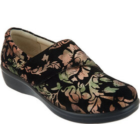 """As Is"" Alegria Printed Nubuck Slip-On Shoes with"