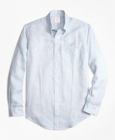 Brooks Brothers Madison Fit Gingham Irish Linen Sp
