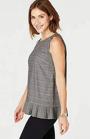 Pleated-Hem Sleeveless Top
