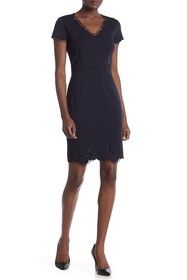 T Tahari Embroidered Cap Sleeve Dress