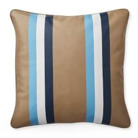 Stripe Printed Leather Pillow Cover, Blue