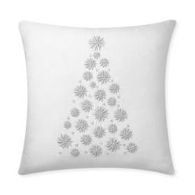 Festive Embellished Tree Pillow Cover, Ivory