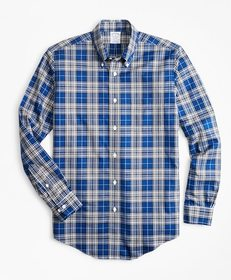 Brooks Brothers Non-Iron Regent Fit Blue Tartan Sp